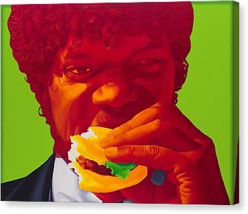 Tasty Burger Canvas Print by Ellen Patton