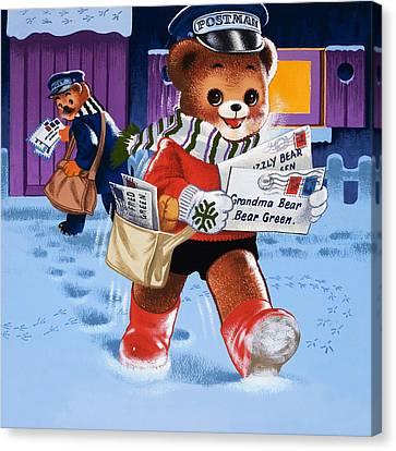 Teddy Bear Postman Canvas Print by William Francis Phillipps