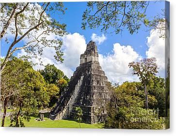 Temple I Of The Jaguar - Mayan Ruins Of Tikal Guatemala Canvas Print by Matteo Colombo