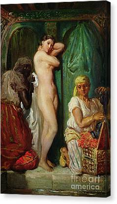 The Bath In The Harem Canvas Print by Theodore Chasseriau