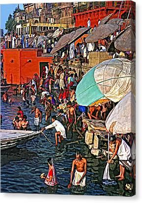 The Bathing Ghats Canvas Print by Steve Harrington