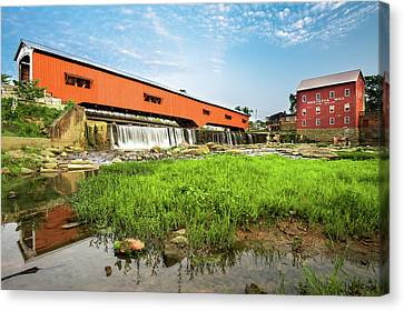 The Bridgeton Mill And Covered Bridge - Indiana Canvas Print by Gregory Ballos