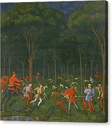 The Hunt In The Forest Canvas Print by Paolo Uccello