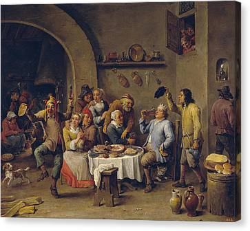 The King Drinks Canvas Print by David Teniers the Younger