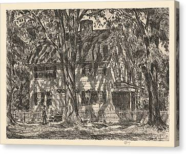 The Lion Gardiner House. Easthampton Canvas Print by Childe Hassam