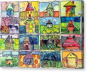 The Little Houses Canvas Print by Mindy Newman