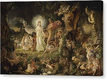 The Quarrel Of Oberon And Titania Canvas Print by Joseph Noel Paton