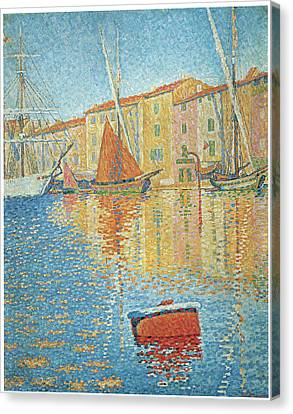 The Red Buoy Canvas Print by Paul Signac