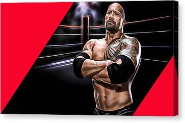 The Rock Wrestling Collection Canvas Print by Marvin Blaine