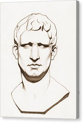 The Roman General - Marcus Vipsanius Agrippa - In Sepia Canvas Print by Stevie the floating artist