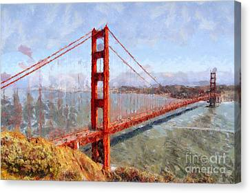 The San Francisco Golden Gate Bridge . 7d14507 Canvas Print by Wingsdomain Art and Photography