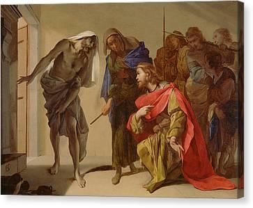 The Shade Of Samuel Invoked By Saul Canvas Print by Bernardo Cavallino