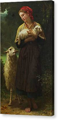 The Shepherdess Canvas Print by William-Adolphe Bouguereau