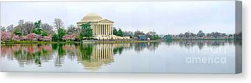 Tidal Basin With Cherry Blossoms Canvas Print by Jack Schultz