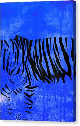 Tiger Animal Decorative Blue Poster 2 - By Diana Van Canvas Print by Diana Van