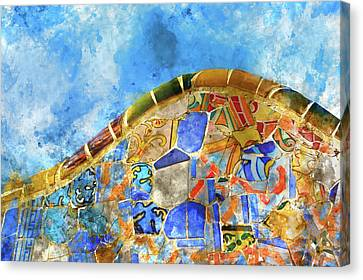 Tile Background In Parc Guell In Barcelona Spain Canvas Print by Brandon Bourdages
