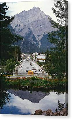 Town Of Banff Canvas Print by Shirley Sirois