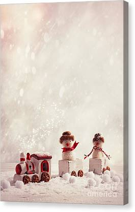 Toy Train Set Canvas Print by Amanda Elwell