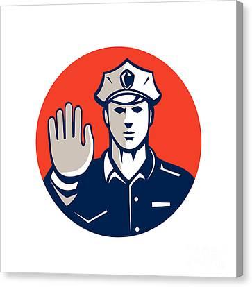 Traffic Policeman Hand Stop Sign Circle Retro Canvas Print by Aloysius Patrimonio