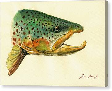 Trout Watercolor Painting Canvas Print by Juan  Bosco