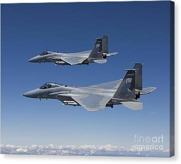 Two F-15 Eagles Conduct Air-to-air Canvas Print by HIGH-G Productions