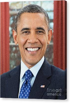 U.s. President Barack Obama Canvas Print by Celestial Images