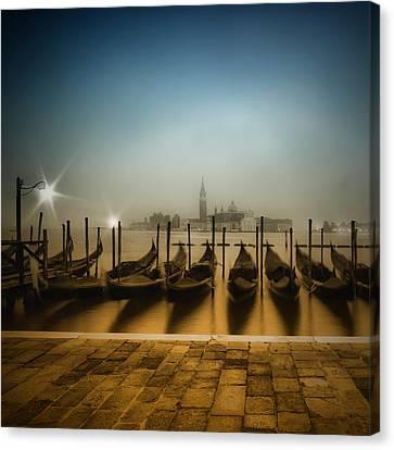 Venice Gondolas On A Foggy Morning  Canvas Print by Melanie Viola
