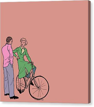 Vintage Bike Couple Canvas Print by Karl Addison