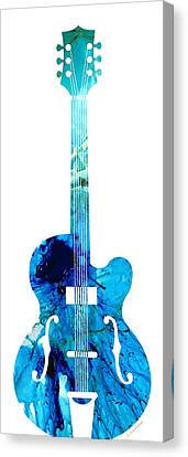 Vintage Guitar 2 - Colorful Abstract Musical Instrument Canvas Print by Sharon Cummings