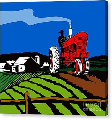 Vintage Tractor Retro Canvas Print by Aloysius Patrimonio