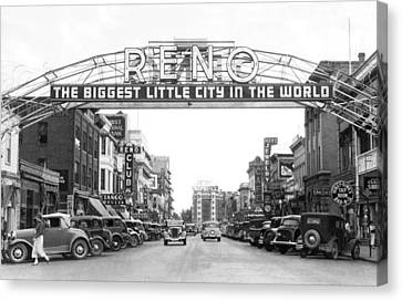 Virginia Street In Reno Canvas Print by Underwood Archives