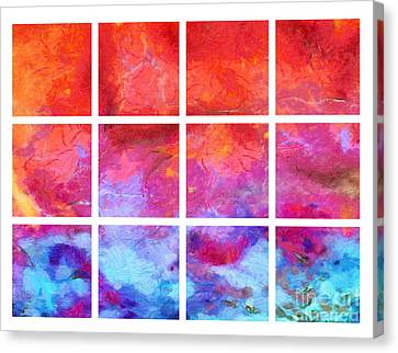 Water Fire Abstract Grid Canvas Print by Edward Fielding