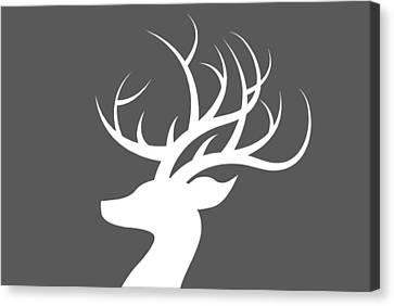 White Deer Silhouette Canvas Print by Chastity Hoff