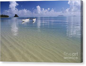 White Double Hull Canoe Canvas Print by Joss - Printscapes