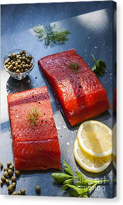 Wild Salmon Steaks Canvas Print by Elena Elisseeva