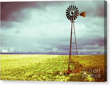 Windmill Against Autumn Sky Canvas Print by Gordon Wood