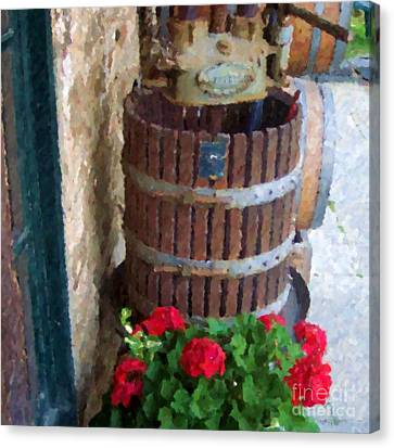 Wine And Geraniums Canvas Print by Debbi Granruth
