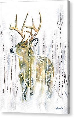 Winter Deer Canvas Print by Antony Galbraith