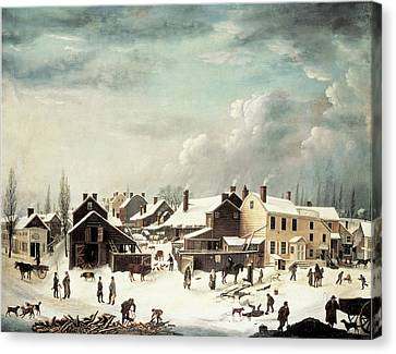 Winter Scene In Brooklyn Canvas Print by Francis Guy