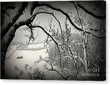 Winter Scene In Switzerland Canvas Print by Susanne Van Hulst