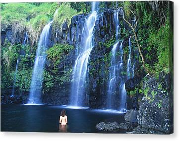 Woman At Waterfall Canvas Print by Dave Fleetham - Printscapes