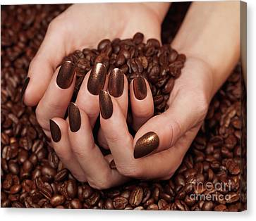 Woman Holding Coffee Beans In Her Hands Canvas Print by Oleksiy Maksymenko
