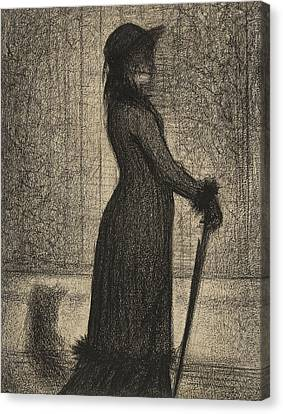 Woman Strolling Canvas Print by Georges Pierre Seurat