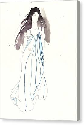 Woman With Dress From Chloe Canvas Print by Toril Baekmark