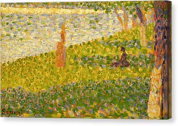 Women On The River Bank Canvas Print by Georges Pierre Seurat