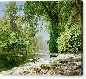 Wooded Riverscape Canvas Print by Leopold Rolhaug
