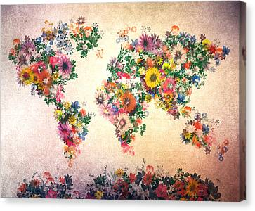 World Map Floral 9 Canvas Print by Bekim Art