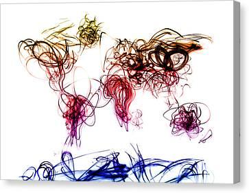 World Map Light Writing Canvas Print by Michael Tompsett