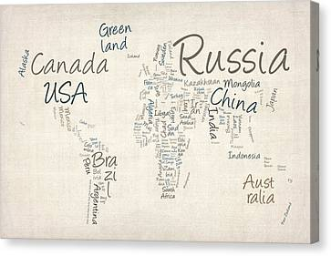 Writing Text Map Of The World Map Canvas Print by Michael Tompsett