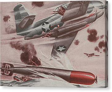 World War II Advertisement Canvas Print by American School